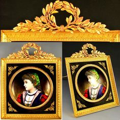 Antique French Limoges Enamel on Copper Miniature Portrait Plaque, Gilt Bronze Frame from The Antique Boutique on Ruby Lane