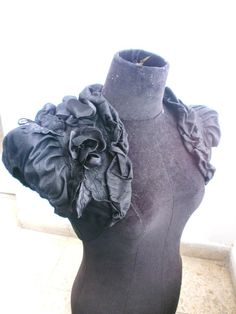 BLACK ORCHID raw silk black bolero jacket bridal bolero jacket shrug wedding shrug bridal shrug black shrug.via Etsy.