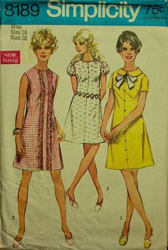 "1960s Dress A -Line with Cute Trim Options Simplicity Pattern 8189  Size 16  Bust 38"". $12.95, via Etsy."
