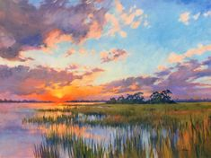 Junko Ono Rothwell AND painting Pastel Landscape, Watercolor Landscape, Abstract Landscape, Landscape Paintings, Watercolor Art, Sunrise Landscape, Sunrise Painting, Sky Painting, Paintings I Love
