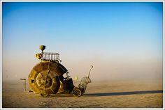 Golden Mean Snail Car by Jon Sarriugarte. Taken at Burning Man, 2010, Black Rock City, Nev. Photo by Luke Szczepanski.
