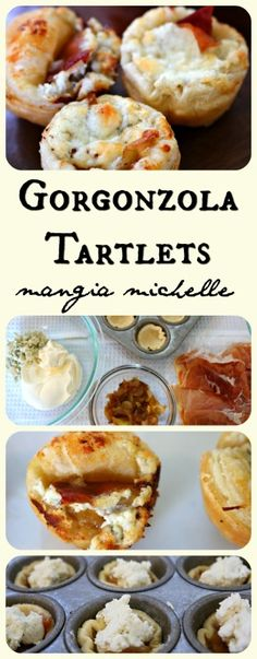 Gorgonzola Tartlets with Caramelized Onions - these tartlets have only five main ingredients and will be the start of your holiday party cocktail hour ~ www.mangiamichelle.com
