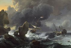https://flic.kr/p/djuhDn | Ludolf Bakhuysen - Ships in Distress of a Rocky Coast [1667] | he three ships in this large painting are the wide-bellied, seagoing vessels that transported much of Holland's mercantile cargo. They display the Dutch flag of orange, white, and blue. These symbols of national optimism, however, are in peril of crashing against rocks during a storm. Each ship has a broken mast and, in the lower right foreground, floating wreckage reveals that one vessel has already…