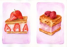 Pastries - ORIGINAL Small Painting, Watercolour Cakes, Strawberry Cake, Raspberry Cake (Still Life, Kitchen Wall Art, Food Illustration)