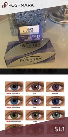 COLOR CONTACTS ✨GRAY✨ Non prescription Cosmetic only Exp: 03/2020 Also available in PURE HAZEL, GRAY, GEMSTONE GREEN, STERLING GRAY, HONEY, & TRUE SAPHIRE I will Include a free case!  FreshLook® COLORBLENDS® contact lenses use 3-in-1 color technology for a naturally beautiful look, whether you want a dramatic transformation or subtle enhancement. Even if your vision is perfect, experience a fresh, new look that's always you.  ✔️If it's listed it's available ✔️Price is firm Other