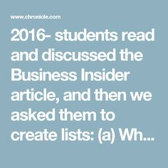 2016- students read and discussed the Business Insider article, and then we asked them to create lists: (a) What students can do to promote good learning; and (b) What instructors can do to promote good learning. Here's what students had to say, to each other and to me and my graduate assistant.*