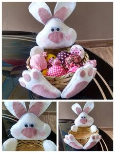 Hermosa Colección de Moldes para ti que te gustan las Manualidades. Bunny Crafts, Easter Crafts, Felt Crafts, Diy Craft Projects, Projects To Try, Crafts To Sell, Diy And Crafts, Bunny Plush, Felt Christmas