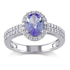 <li>Oval-cut tanzanite and round white diamond ring</li> <li>10-karat white gold jewelry</li> <li><a href='http://www.overstock.com/downloads/pdf/2010_RingSizing.pdf'><span class='links'>Click here for ring sizing guide</span></a></li>
