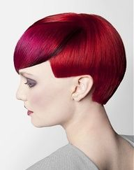 A short red straight coloured multi-tonal light-red DEEP-RED hairstyle by Keller Hair Company