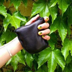 BAGGU Leather Small Zip Pouch Black on Black