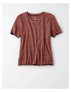 85d67b312f1d AE Ribbed Lettuce Edge T-Shirt, Rust | American Eagle Outfitters Mens  Outfitters,