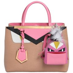 FENDI Monster Animation Bag Charm With Fur (€940) ❤ liked on Polyvore featuring accessories, black key ring ve fendi