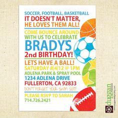 Boys and Balls Colorfull Birthday Invitation  5x7 by DugganDesigns, $15.00