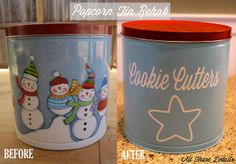 Popcorn Tin Before After by All Those Details, via Flickr
