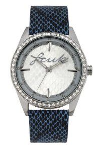 FCUK Women's FC1061SSBL Blue Snake Pattern Leather Strap Stainless Steel Round Case Czech Crystals Watch,$48.92