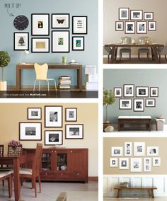 20 Gallery Wall Ideas: Bringing together life, photography, family, and art *Loved Style At Home, Frames On Wall, Picture Wall, Wall Design, Living Room Decor, Family Room, New Homes, Wall Ideas, Life Photography