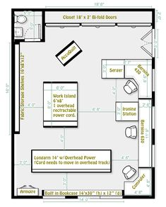 Final modifications to studio, submitted to builder! Sewing Room Design, Craft Room Design, Sewing Spaces, Sewing Rooms, Sewing Studio, Sewing Room Furniture, Sewing Room Decor, Sewing Room Organization, Organizing Tips