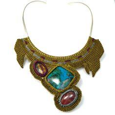 "Fiber art jewelry, macrame necklace ""Qoya"" by designer Coco Paniora Salinas of Rumi Sumaq"