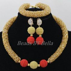 Gold Crystal African Jewelry Set Nigerian Bead Necklace
