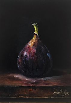 Fig Original Oil Painting Still Life by Nina R.Aide Original Fine Art Fruit Small Painting Traditional Classic Art Chiaroscuro by NinaRAideStudio on Etsy