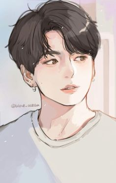 Jungkook fanart obviously not by me Jungkook Fanart, Fanart Bts, Jungkook Cute, Bts Chibi, Anime Art Girl, Anime Boys, Bts Anime, Kpop Drawings, Handsome Anime