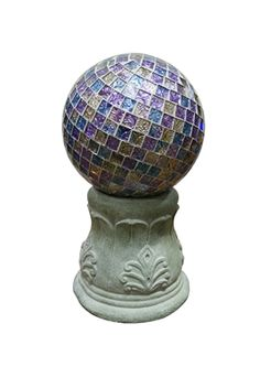 """12"""" Roman Column Gazing Globe Stand.  his classical roman style gazing globe stand is made a durable polyresin which gives it a realistic look. A perfect way to display your Alpine Gazing Globe. Gazing Globe is sold separately.  #solarlighting #solar"""