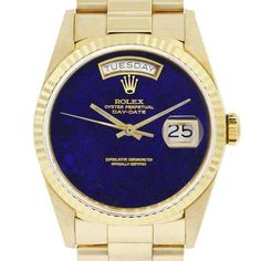 Rolex Yellow Gold Lapis Dial Day-Date Presidential Automatic Wristwatch    From a unique collection of vintage wrist watches at https://www.1stdibs.com/jewelry/watches/wrist-watches/