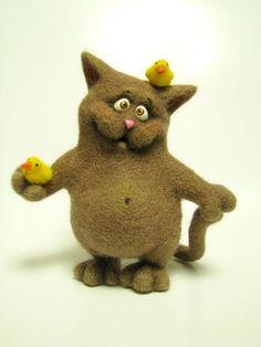 Игрушки животные, ручной работы. Ярмарка Мастеров - ручная работа Кот с птенчиками. Handmade.