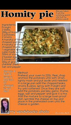 Sw homity pie Vegan Slimming World, Slimming World Dinners, Slimming Recipes, Healthy Eating Recipes, Veg Recipes, Cooking Recipes, Pasta Recipes, Healthy Foods, Slimmers World Recipes