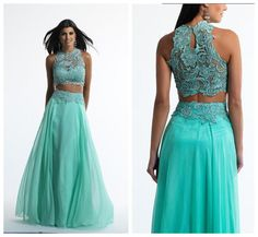 Wholesale Wedding Dress - Buy Stunning Two Piece Prom Dresses Embroidered Lace Top And Keyhole Back Chiffon Skirt with Embroidered Lace Waist Sexy Girls' Party Gowns 2014, $126.6 | DHgate