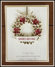 CAS gold-embossed wreath for the Holiday season.   I have the details and my printable supply list here if you would like them: http://stampininthesand.blogspot.com/2015/11/card-gold-wondrous-wreath.html  Thanks for visiting, Mary