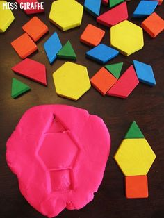 Composing Shapes in 1st Grade Activities! LOVE this one! Stamp the new shape you made into dough to see your new composite shape! Read all these ideas!