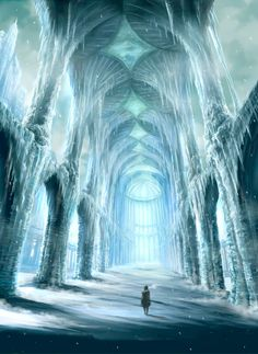 The Kingdom of Tonophria in the north is beneath the ice. Accessible by tunnels and hidden passages going down, there is nothing but an expanse of ice reminicent of Antartica above. Possibly one of th (Beauty Scenery Art) Fantasy City, Fantasy Castle, Fantasy Places, Fantasy World, Fantasy Artwork, Ice Castles, Fantasy Setting, Snow Queen, Ice Queen