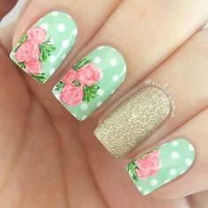 Polka Dot + Flowers Nail Design