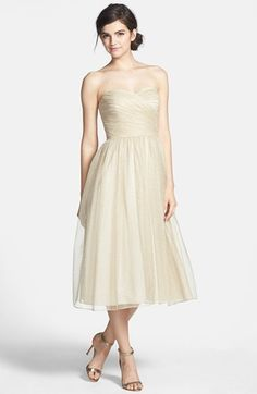 Aidan Mattox Ruched Metallic Tea Length Tulle Fit & Flare Dress available at #Nordstrom