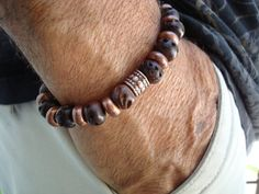 Men's/Unisex Dark Hand Carved Wood and Copper Beads by tocijewelry, $30.00