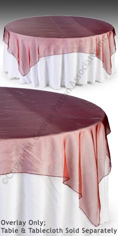85 x 85 Burgundy Organza Table Overlay Fits Various Standard Sized Event Tables