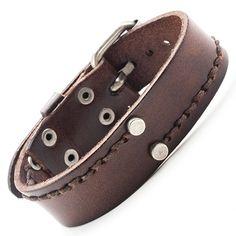 Unique Vintage Brown Men's Genuine Leather Bracelet Cuff Adjustable 23 mm