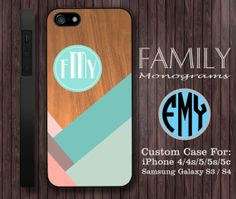 blue and ping wood monogram hard plastic case by familymonogram, $15.99