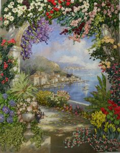 Floral Vista in Ribbon Embroidery by Veronica Kern on Print by Jerome.