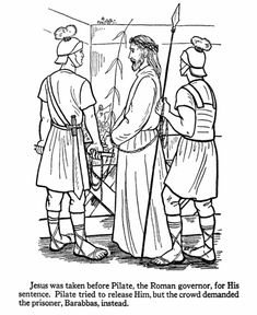 Easter Bible Coloring page - Jesus being taken to Pilate