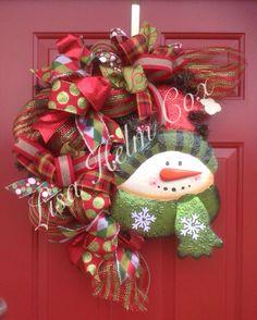 Christmas snowman deco mesh wreath red green