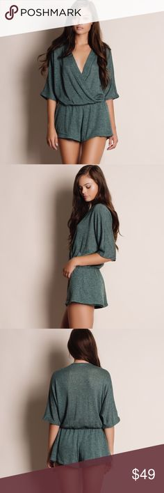 """Army Green Knit Kimono Romper Knit army green kimono romper. This is an actual picture of the item - all photography done personally by me. Model is 5'9"""" 32-24-36. Brand new. True to size. NO TRADES. Bare Anthology Pants Jumpsuits & Rompers"""