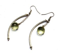 2.5 Lemon Quartz Wire Wrapped Earrings  by gemsnjewelryworld