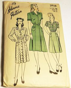 1940s Advance 3958 Dress Pattern