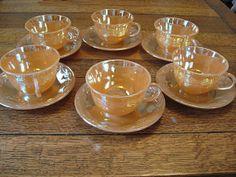 Vintage Fire King Glass Peach Lustre Laurel Cups by FabFunkyFinds, $36.00