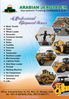 Visit our website and meet your need with full confidence and trust: http://www.al-quds.com/  Because we believe: Quality to Experience ____Service to Remember   #heavyequipment #Dozer #caterpillar #JCB #Crane #motor_grader #komatsu #wheeled_Loader #excavator #BOMAG #Sharjah #Single_drum_roller #Earthmoving #Generator #compactor #compactor #Hitachi #Miniexcavator #Crane #Terex #Reach_stacker