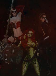 Gotham sirens. harley Quinn ,poison ivy, catwoman