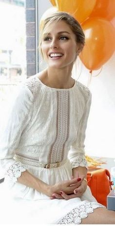 Olivia Palermo, white lace dress: