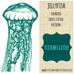 Modern Cross Stitch Pattern Jellyfish Instant by StitchesLittle